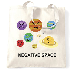 Funny Solar System Tote Bag Negative Space Planets Joke