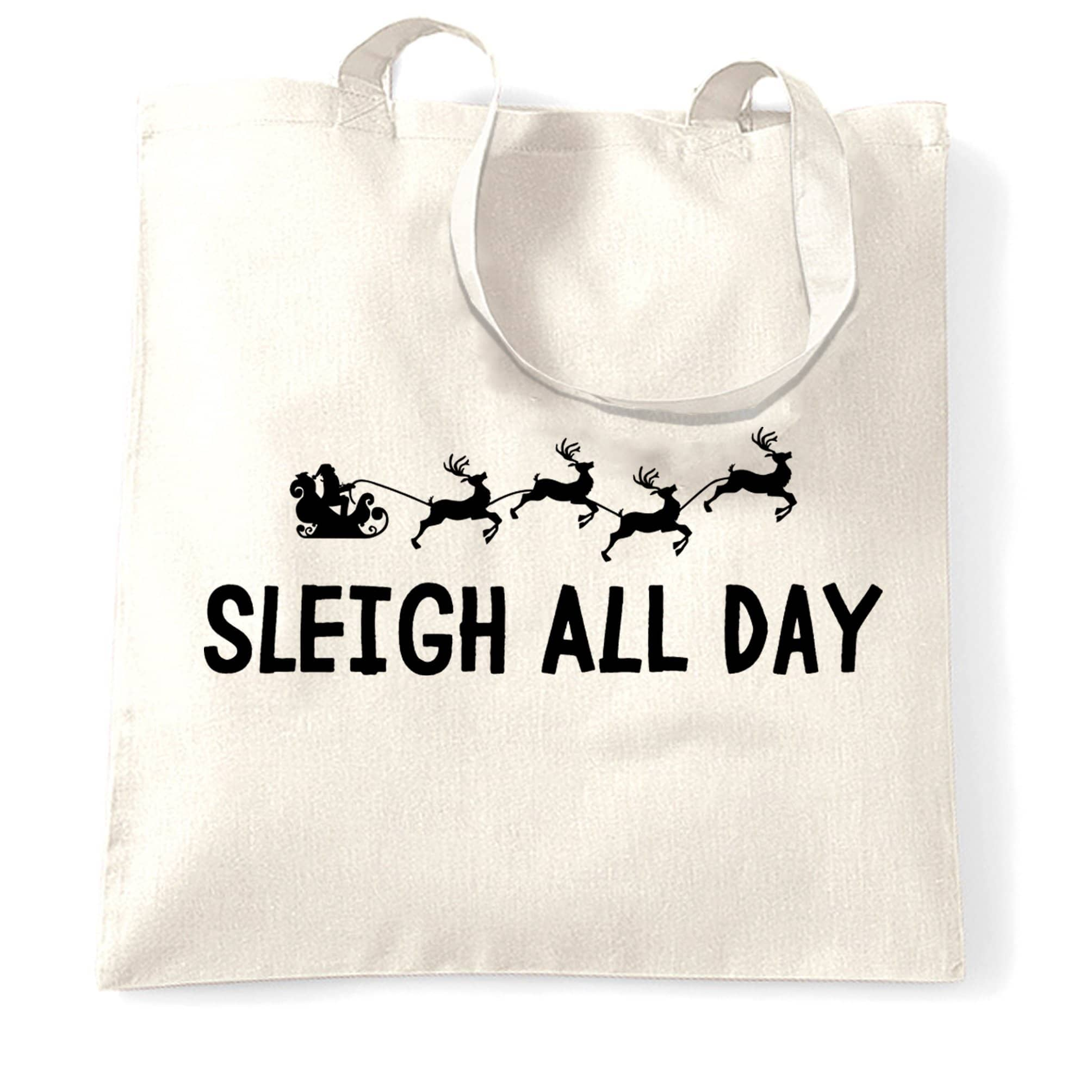 Joke Christmas Tote Bag Sleigh Slay All Day Pun Novelty