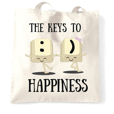 Novelty Computer Tote Bag The Keys To Happiness :) Pun