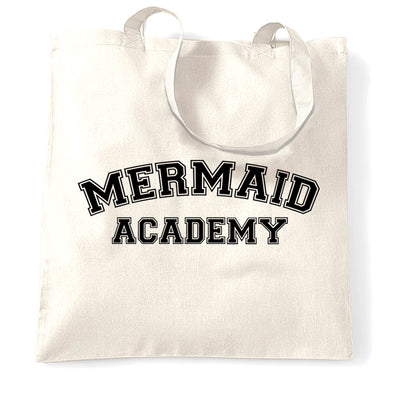 Novelty Mythical Tote Bag Mermaid Academy Slogan