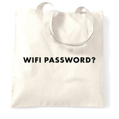 Novelty Nerdy Tote Bag Wifi Password Slogan