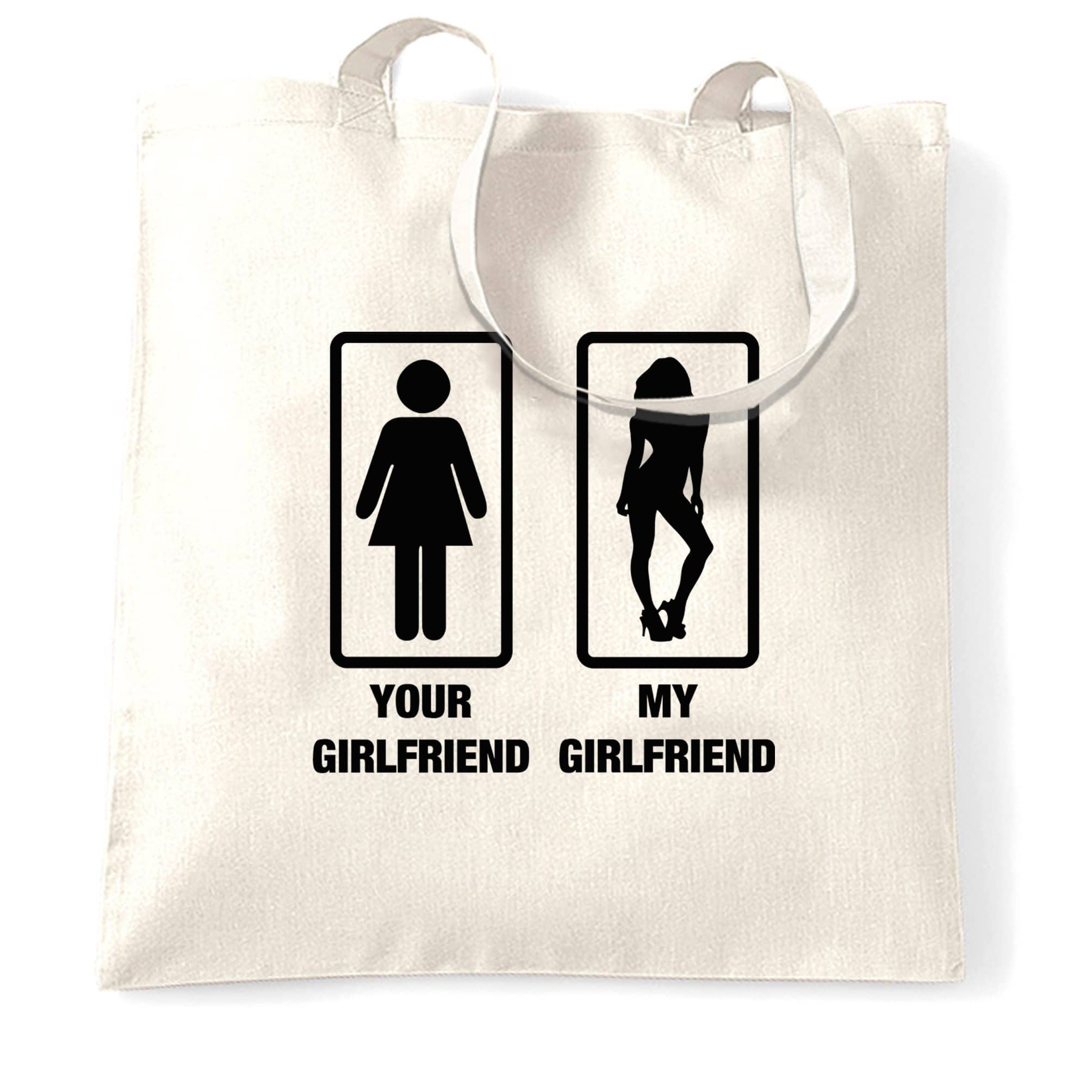 Couples Novelty Tote Bag Your Girlfriend And Mine