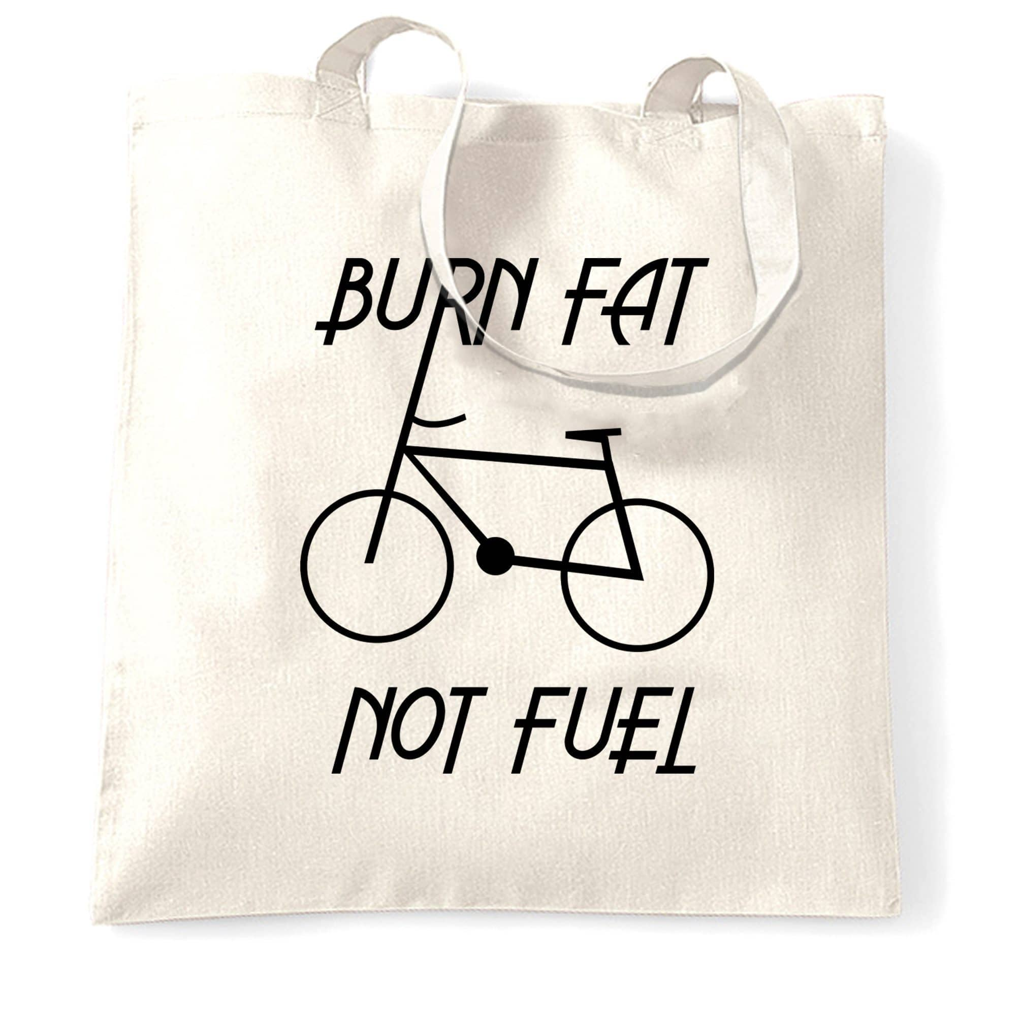 Eco Friendly Tote Bag Burn Fat, Not Fuel - Cycle Logo