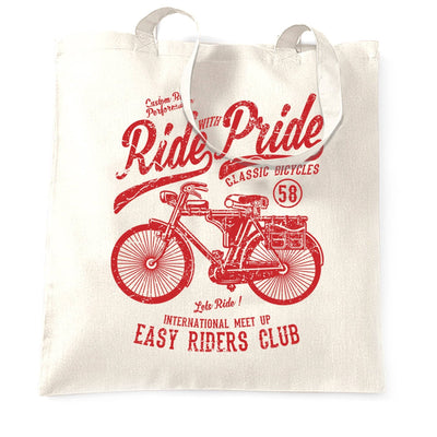 Cycling Tote Bag Ride With Pride Retro Cyclist Bike
