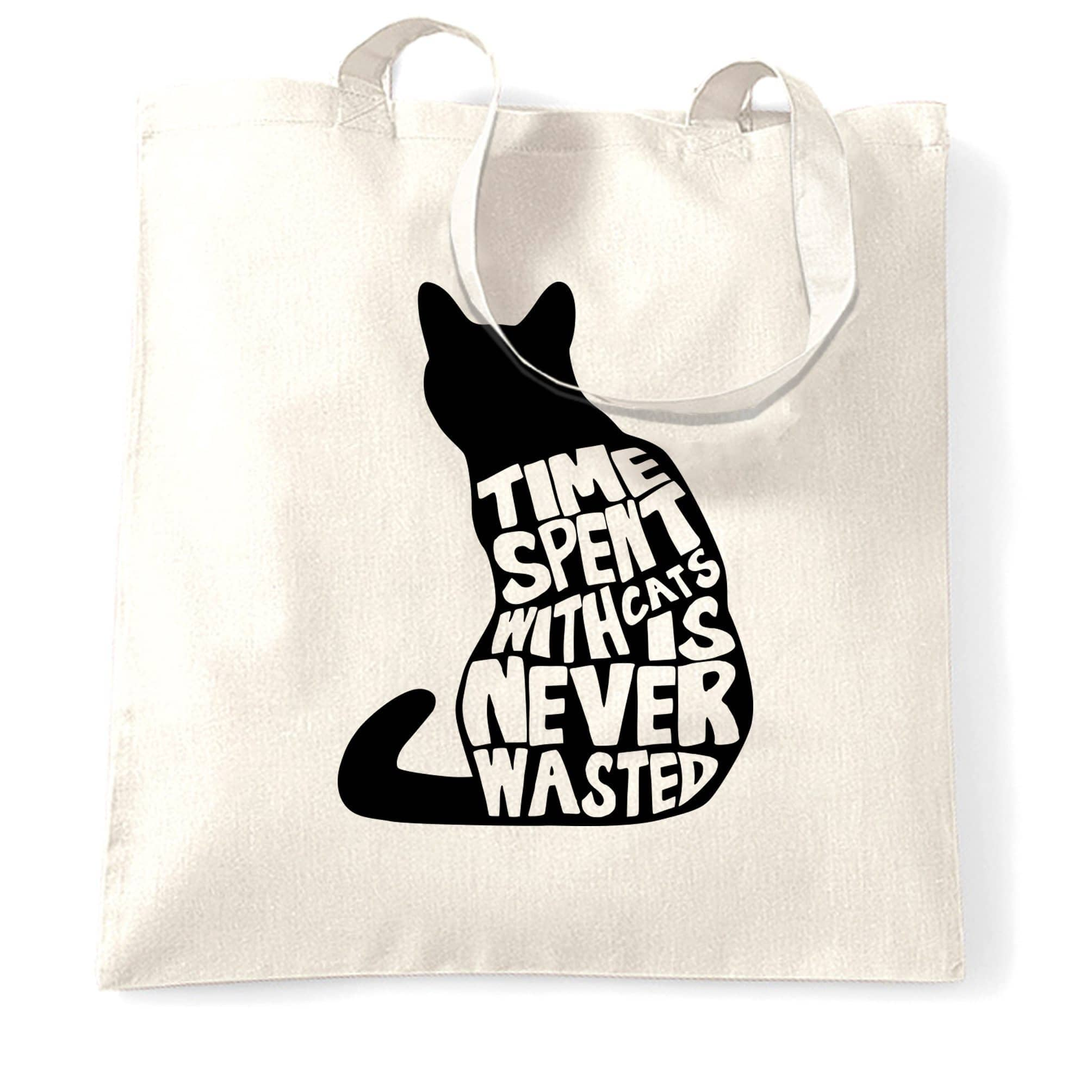 Cat Lover Tote Bag Time Spent With Cats is Never Wasted