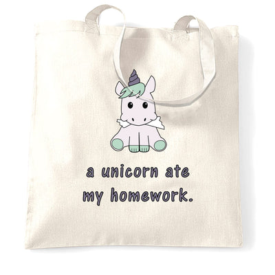 Joke Student Tote Bag A Unicorn Ate My Homework Slogan