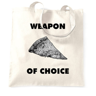 Novelty Food Tote Bag Weapon of Choice Pizza Slice
