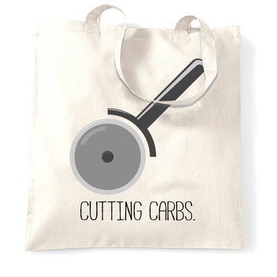 Novelty Food Tote Bag Cutting Carbs Pizza Cutter Joke