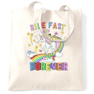 Unicorn Tote Bag Ride Fast And Live Forever Skeleton