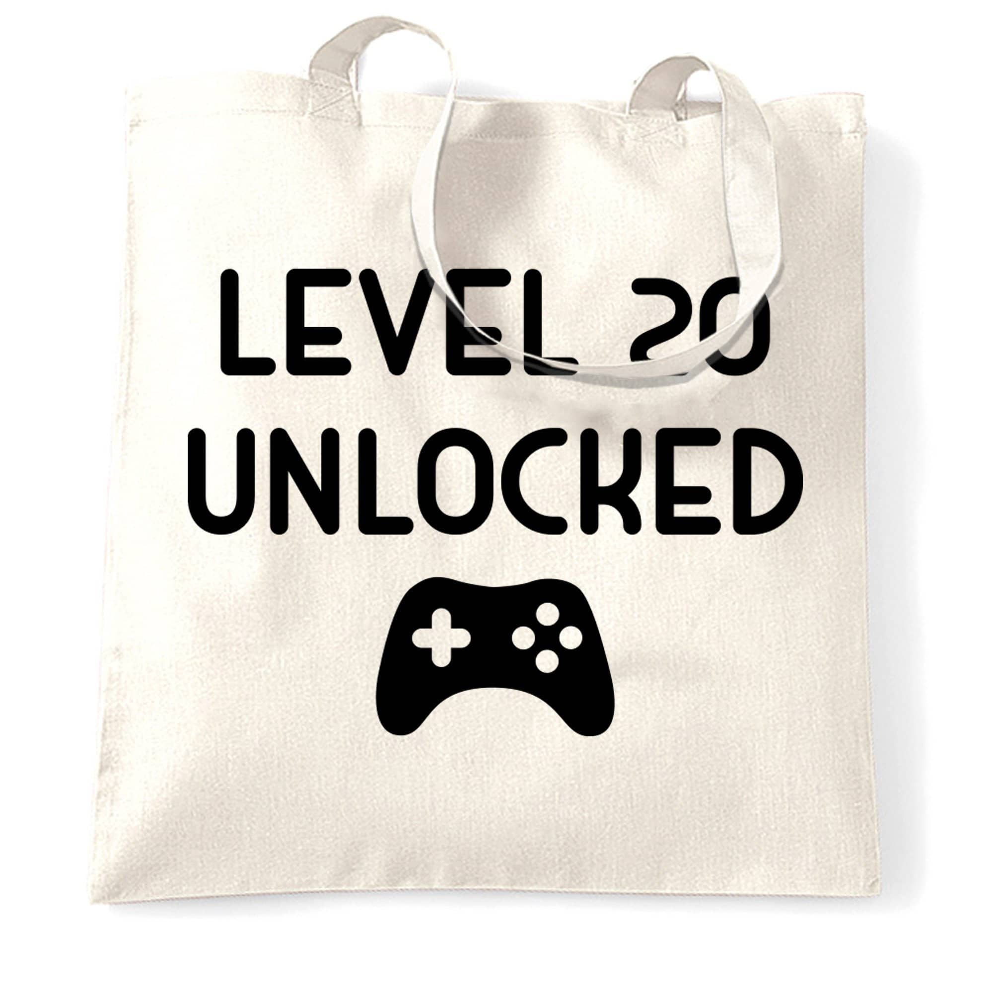 20th Birthday Gamer Tote Bag Level 20 Unlocked Slogan