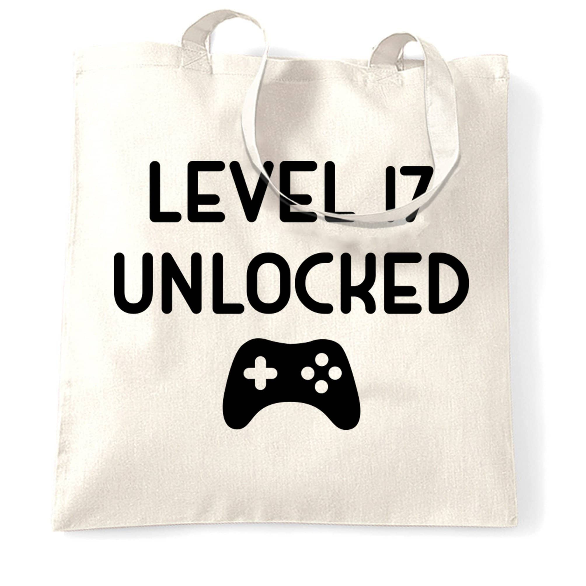 17th Birthday Gamer Tote Bag Level 17 Unlocked Slogan