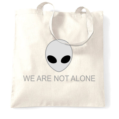 Nerdy Alien Head Tote Bag We Are Not Alone Slogan