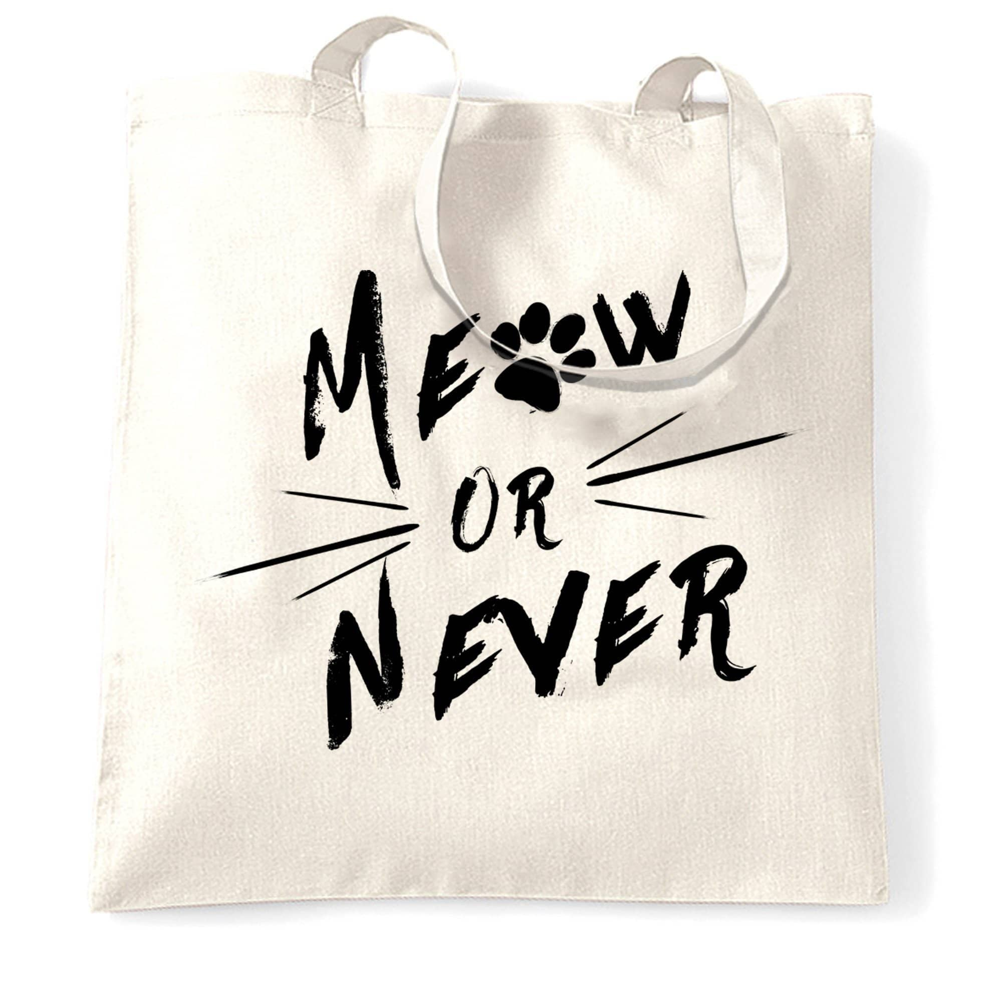 Novelty Pet Tote Bag Meow Or Never Cat Slogan