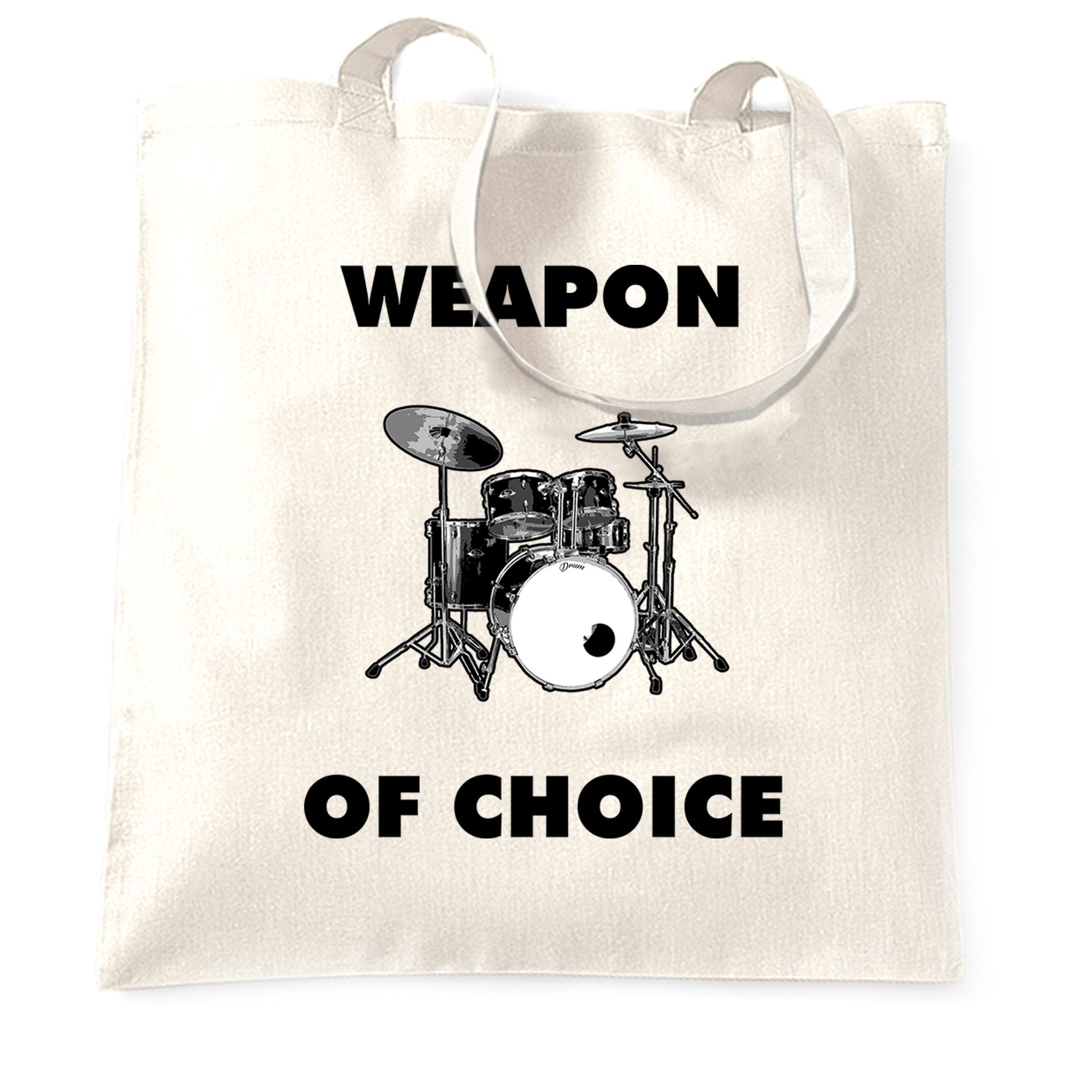Novelty Music Tote Bag Weapon of Choice Drums