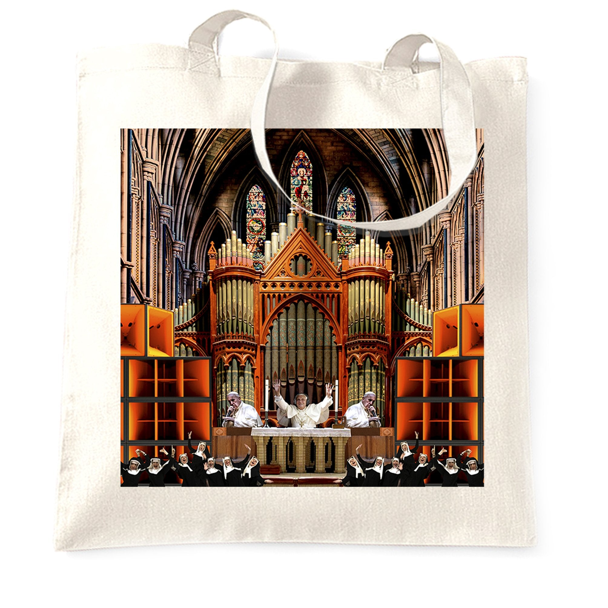 Rave Tote Bag Nun And Bass Party Collage