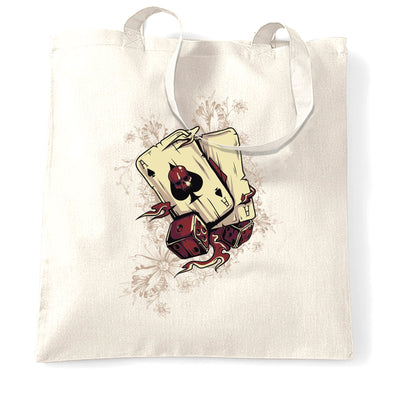 Gambling Art Tote Bag Cards And Dice Graphic