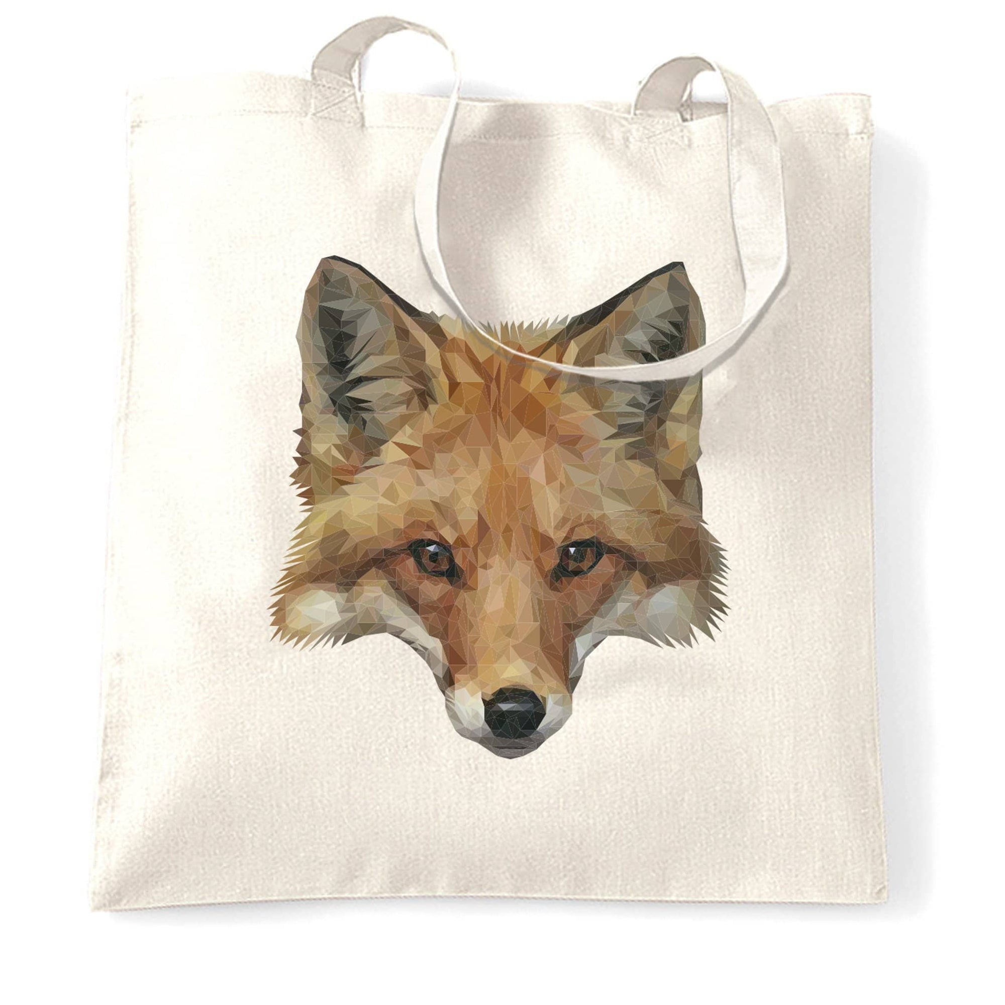 Animal Art Tote Bag Low Poly Fox Graphic