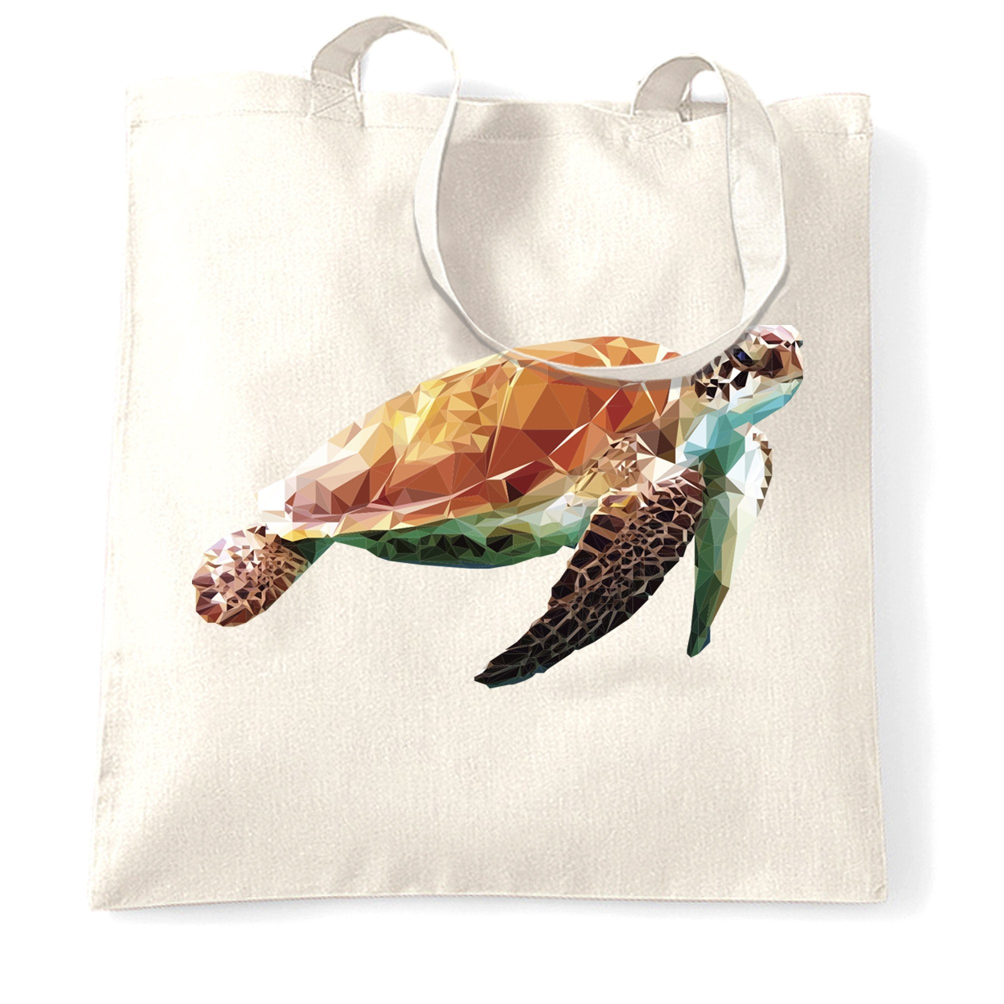 Sea Life Art Tote Bag Low Poly Turtle Graphic