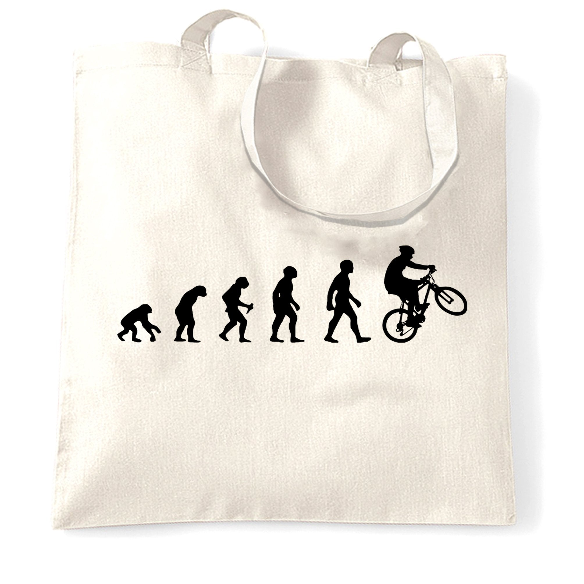 Sports Tote Bag Evolution Of A Mountain Biker