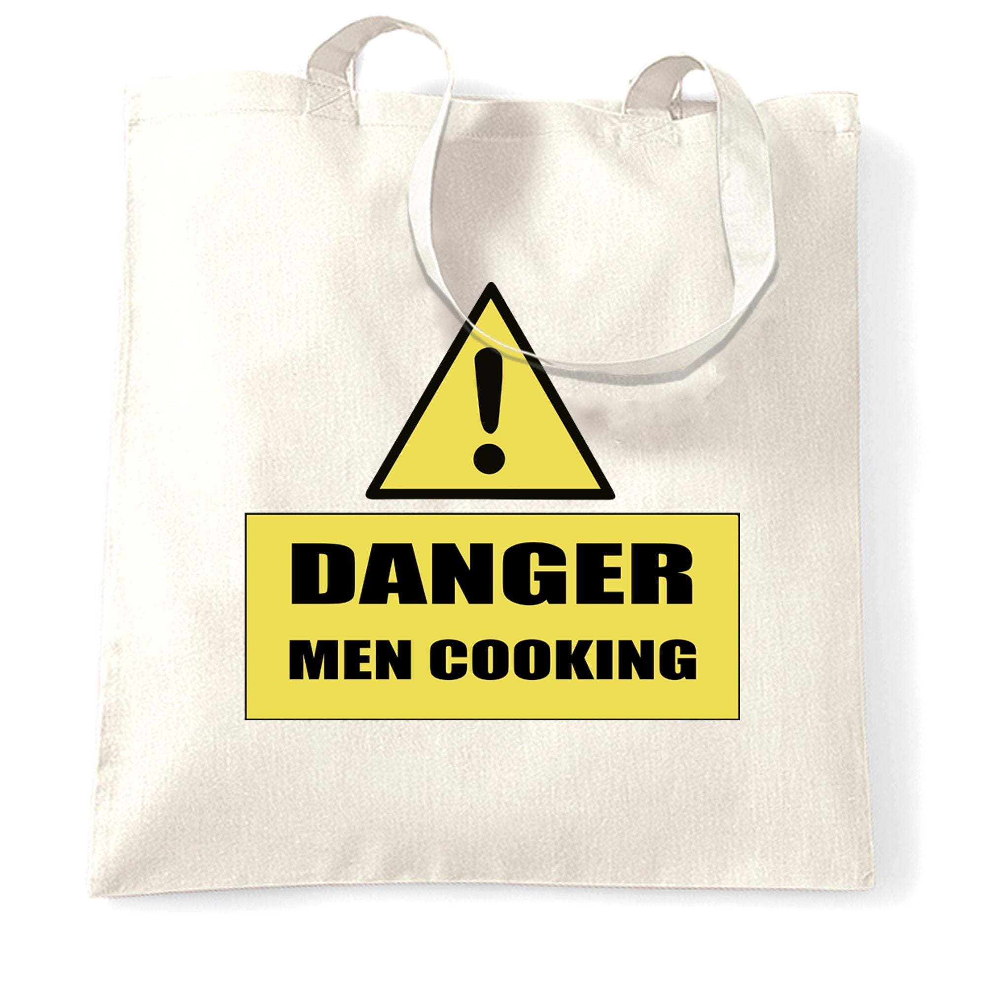 Novelty Barbecue Tote Bag Danger! Men Cooking Sign