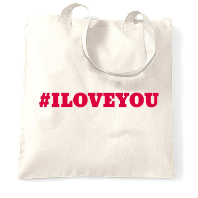 Trendy Internet Tote Bag Hashtag I LOVE YOU