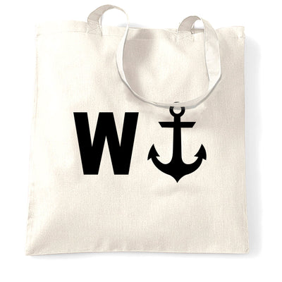 Rude Novelty Tote Bag W And An Anchor