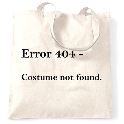 Nerdy Halloween Tote Bag Error 404, Costume Not Found