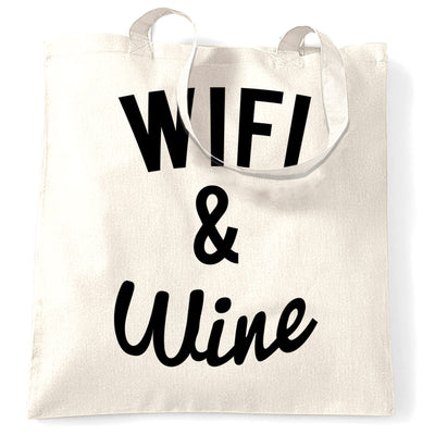 Novelty Tote Bag Wifi And Wine Makes Everything Fine