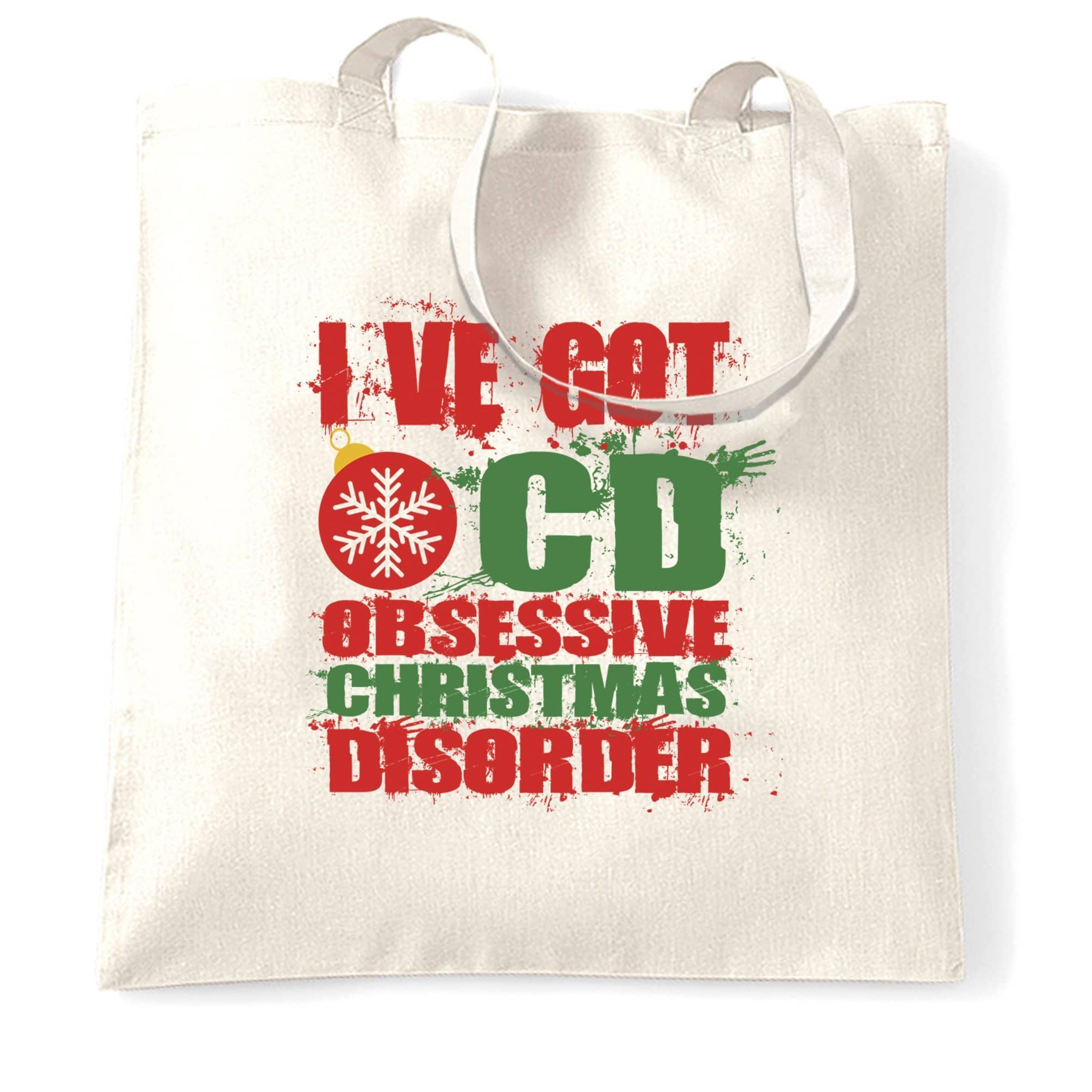 Christmas Tote Bag Obsessive Xmas Disorder OCD Joke
