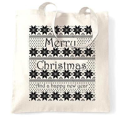 Merry Christmas Tote Bag Xmas Ugly Sweater Pattern
