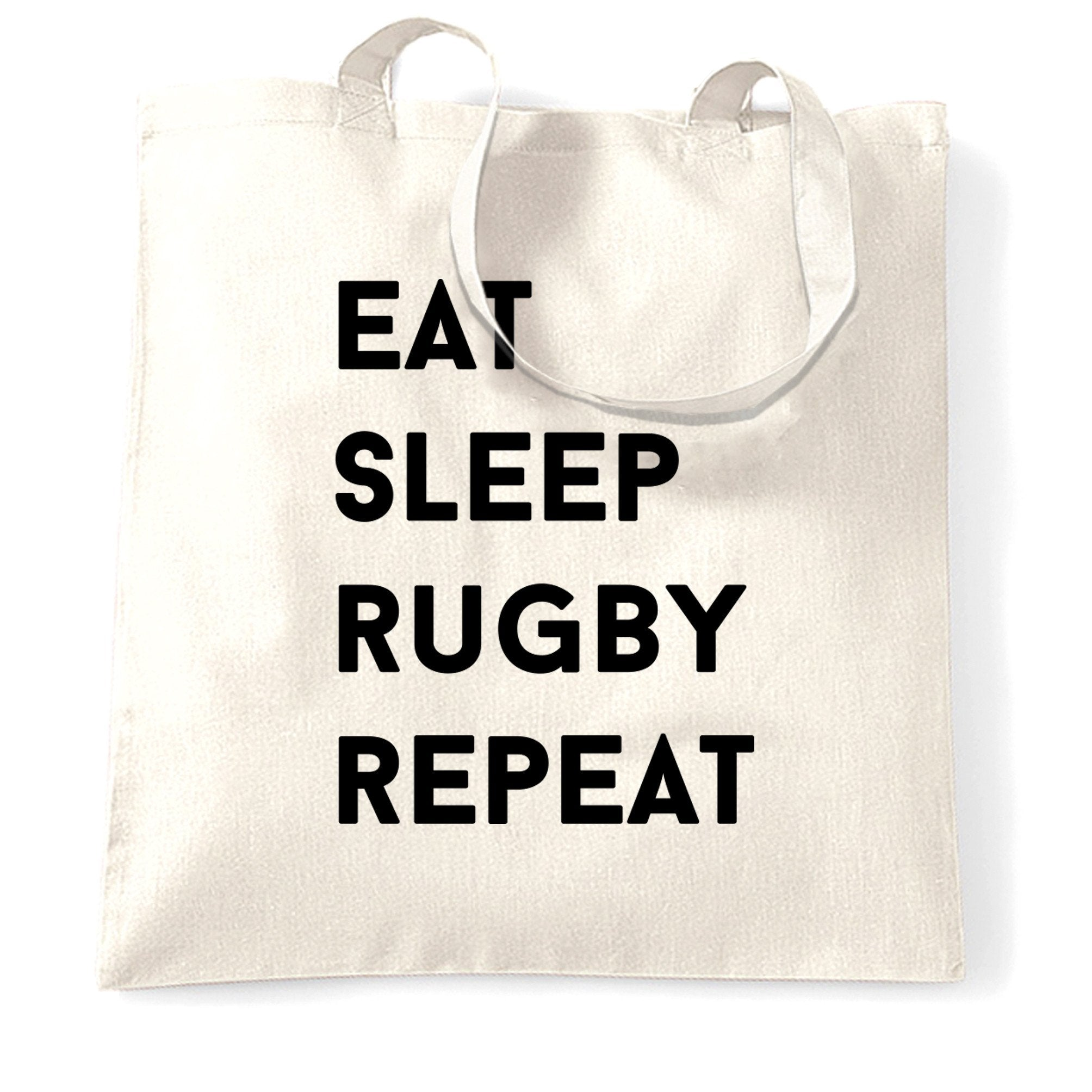Novelty Tote Bag Eat, Sleep, Rugby, Repeat Slogan