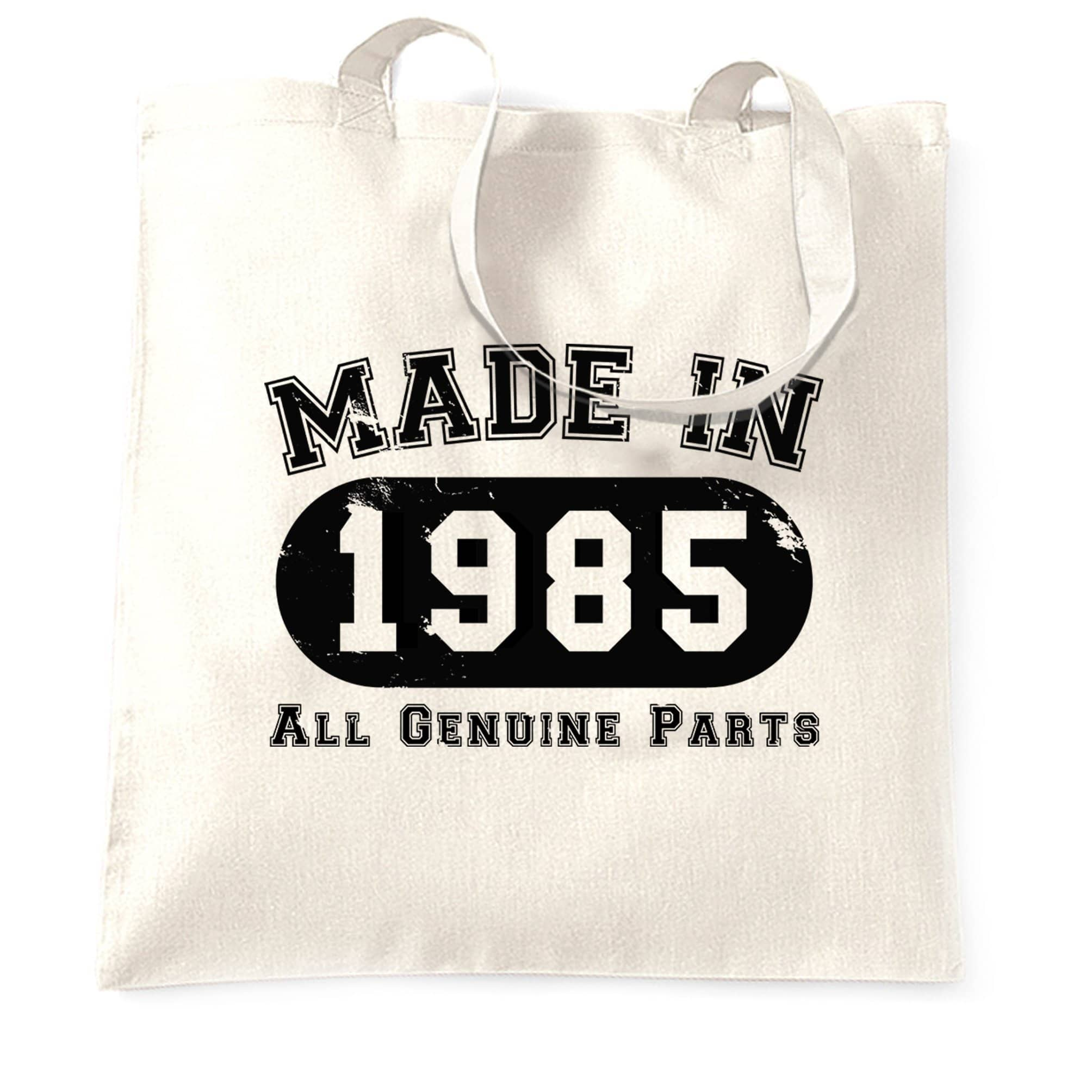 Birthday Tote Bag Made in 1985 All Genuine Parts