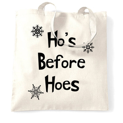 Novelty Chrismas Tote Bag Ho's Before Hoes Slogan