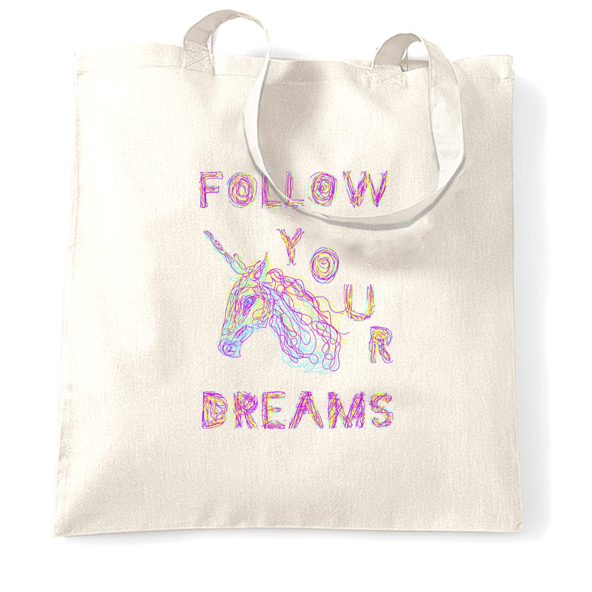 Unicorn Tote Bag Follow Your Dreams Rainbow Slogan