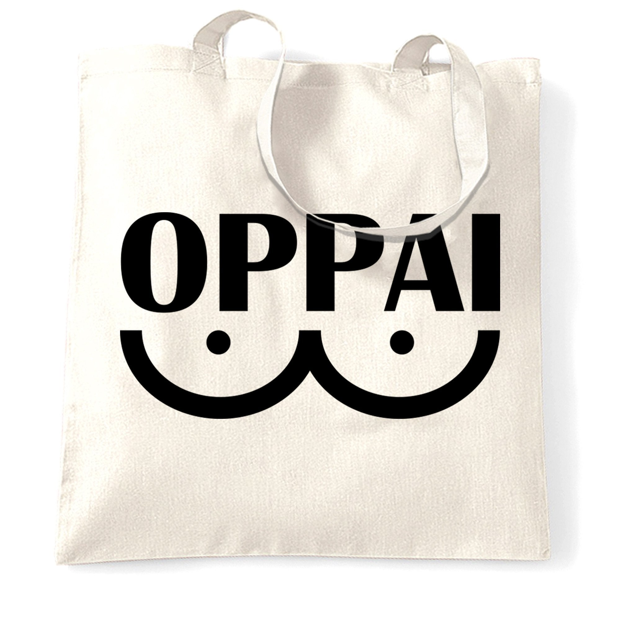 Novelty Anime Parody Tote Bag Oppai Logo