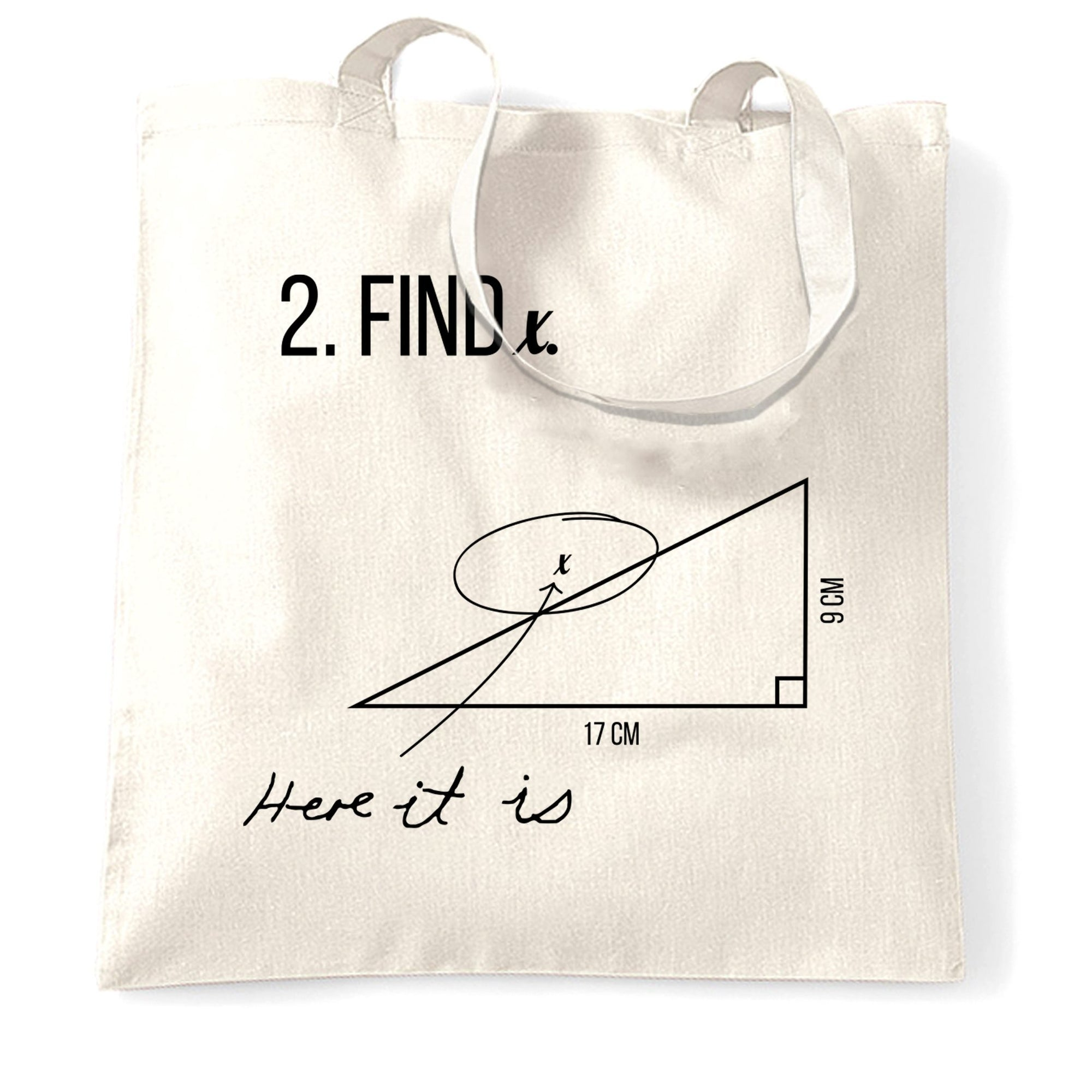 Novelty Math Tote Bag Find X, Here It Is, Exam Answer