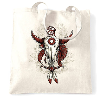 Native American Art Tote Bag Bull Skull and Feathers