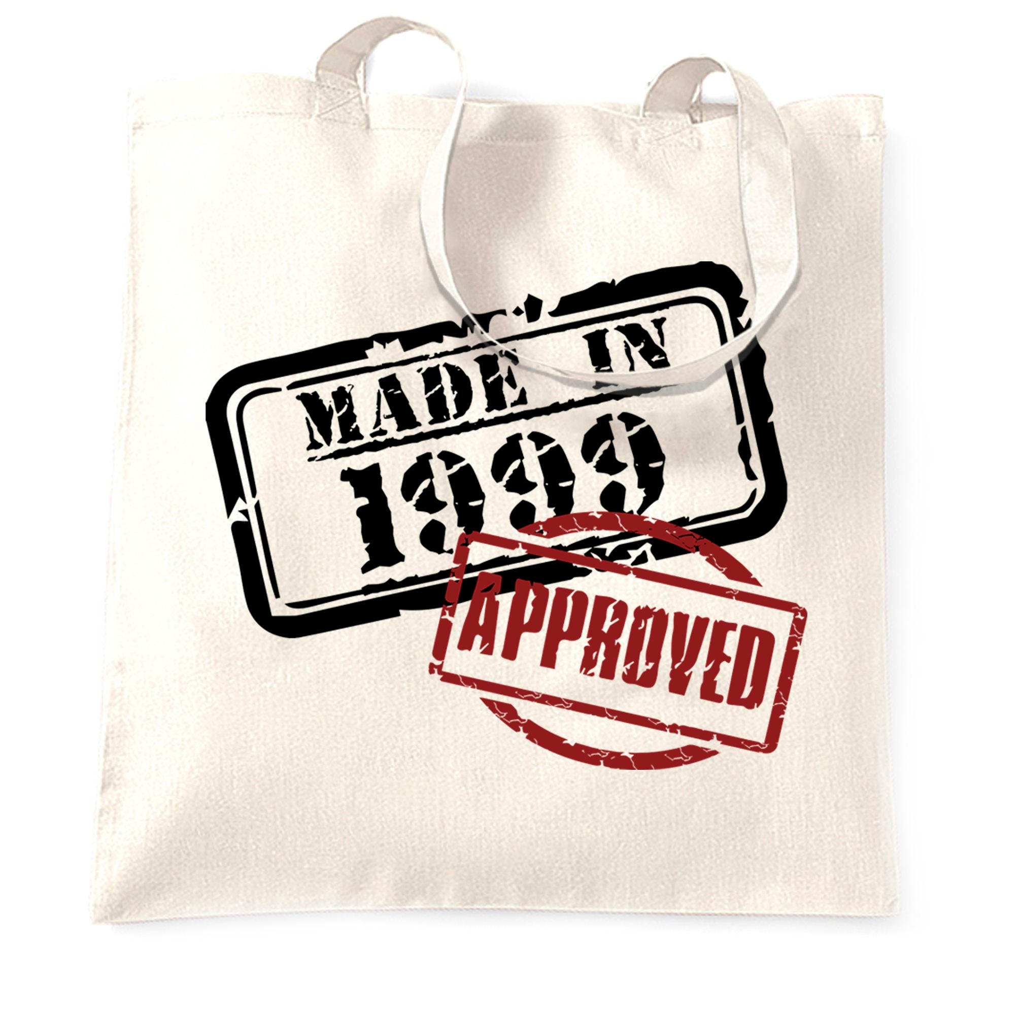 21st Birthday Tote Bag Distressed Made in 1999 Approved