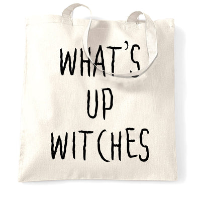 Novelty Halloween Tote Bag What's Up Witches Pun