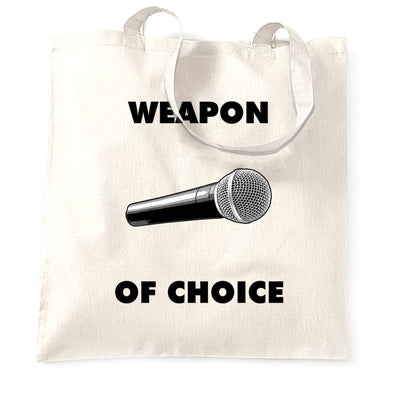 Novelty Music Tote Bag Weapon of Choice Microphone