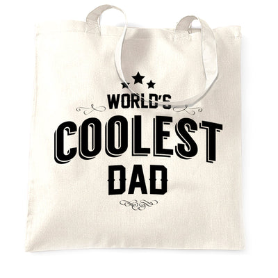 Novelty Tote Bag Worlds Coolest Dad Slogan