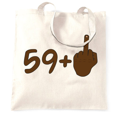 Rude 60th Birthday Tote Bag Black Middle Finger