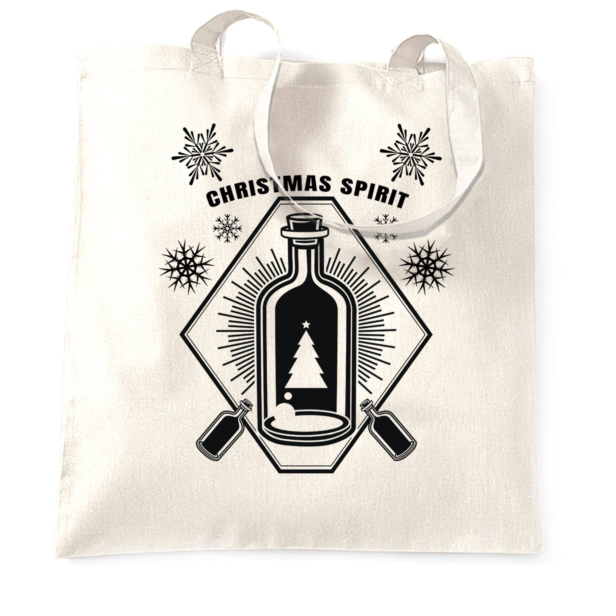 Booze Tote Bag Christmas Alcohol Bottle