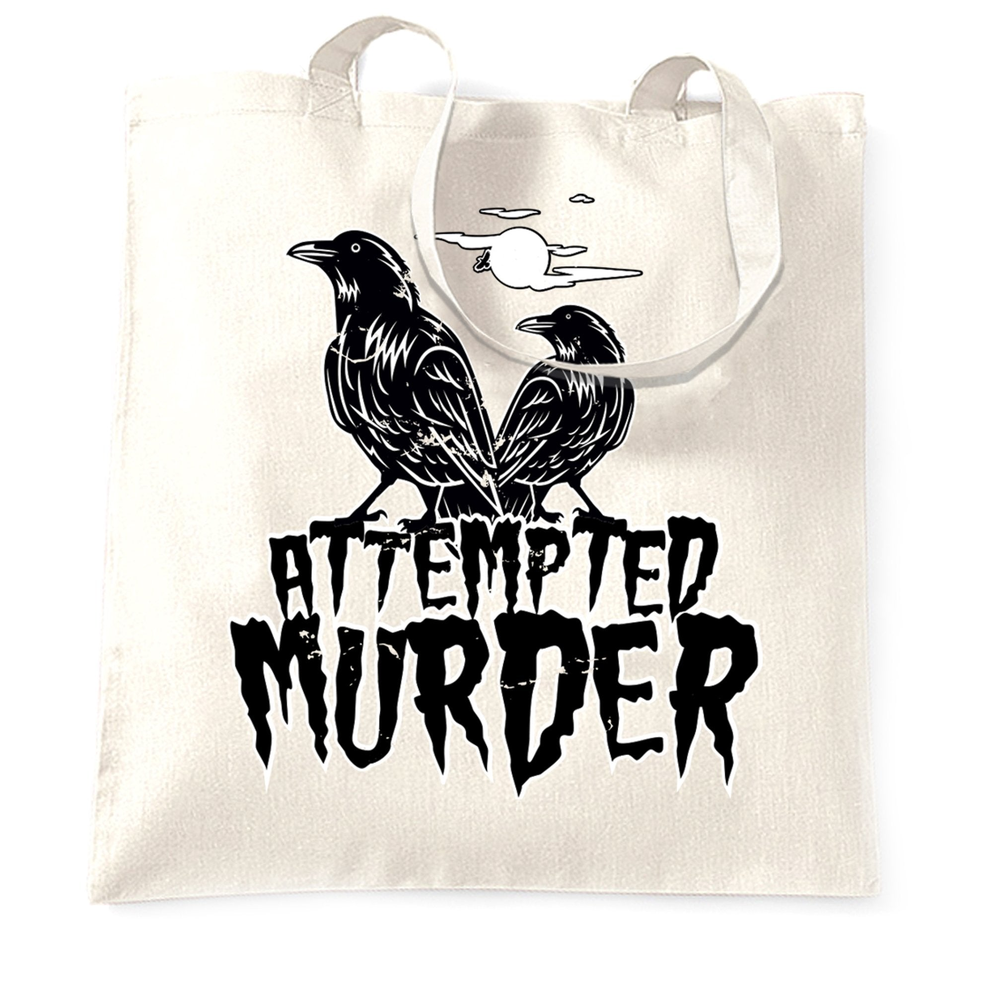 Halloween Tote Bag Attempted Murder Crow Pun