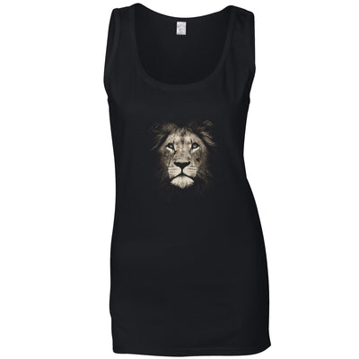 Stylish Animal Ladies Vest Photographic Lion Face Design Top