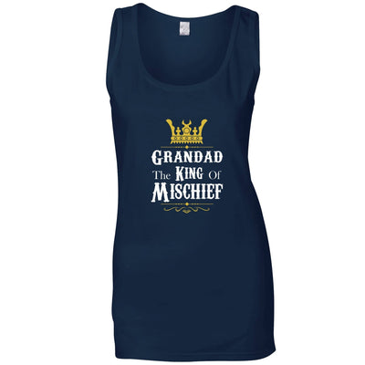 Father's Day Ladies Vest Grandad, The King Of Mischief Top