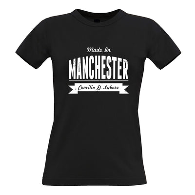 Hometown Pride Womens T Shirt Made in Manchester Banner
