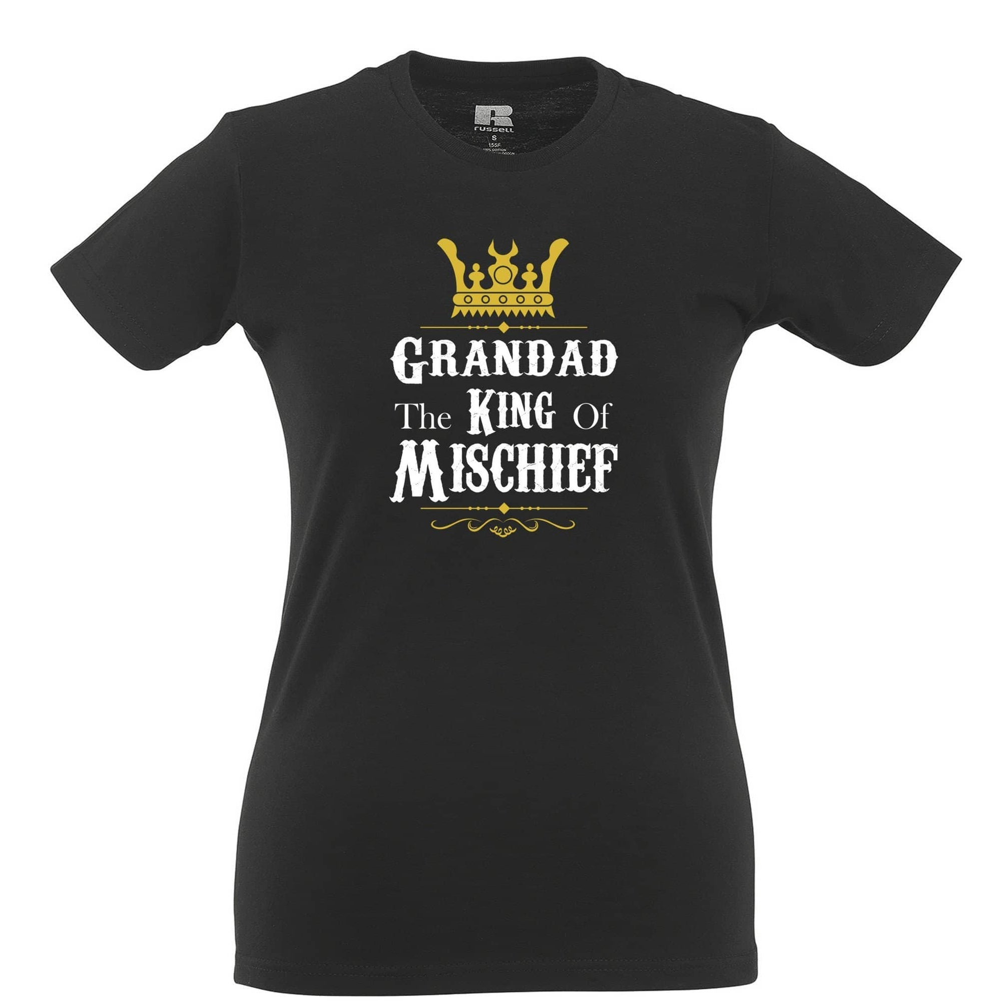 Father's Day Womens Tee Grandad, The King Of Mischief
