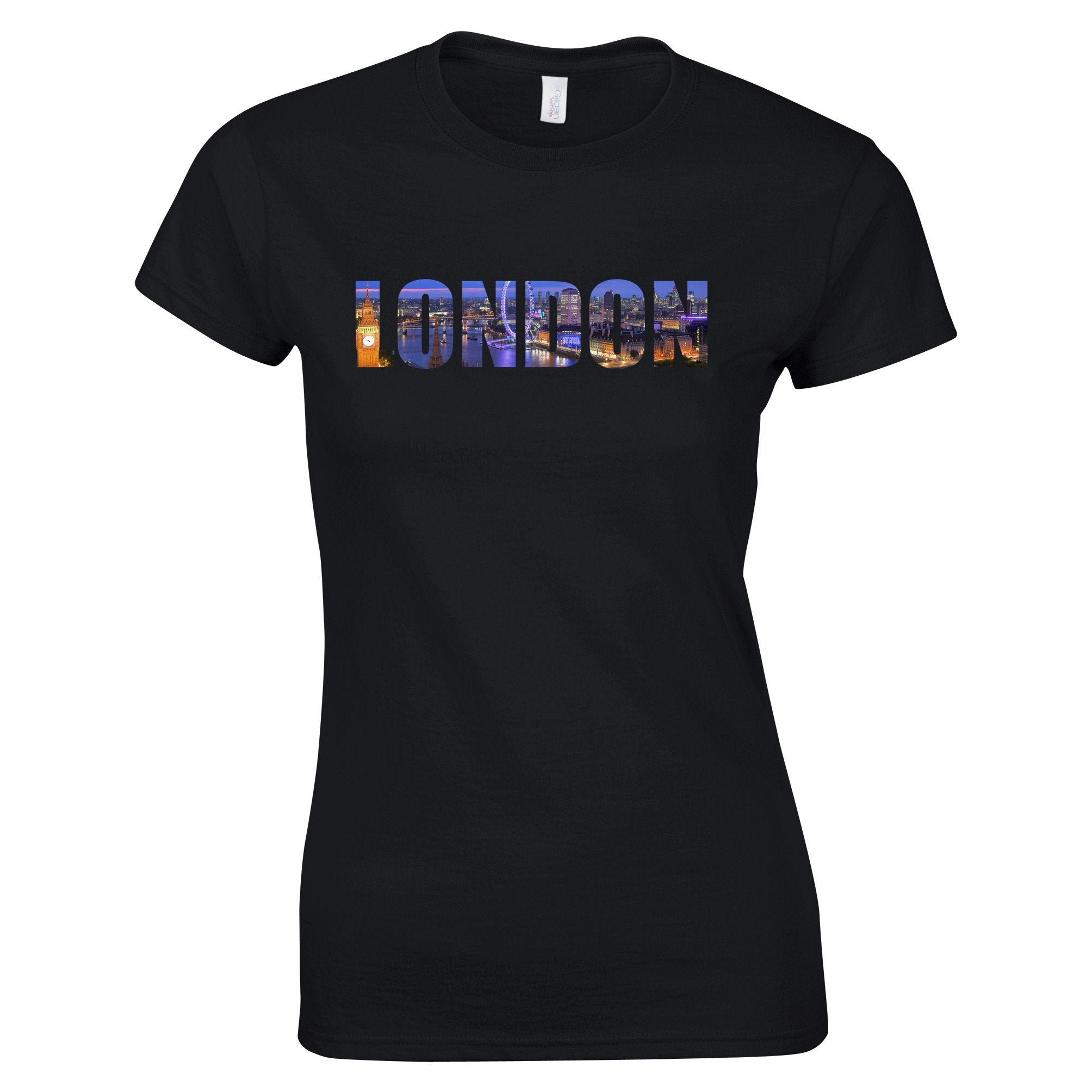 Tourist Womens T Shirt City Of London At Night Text Cutout