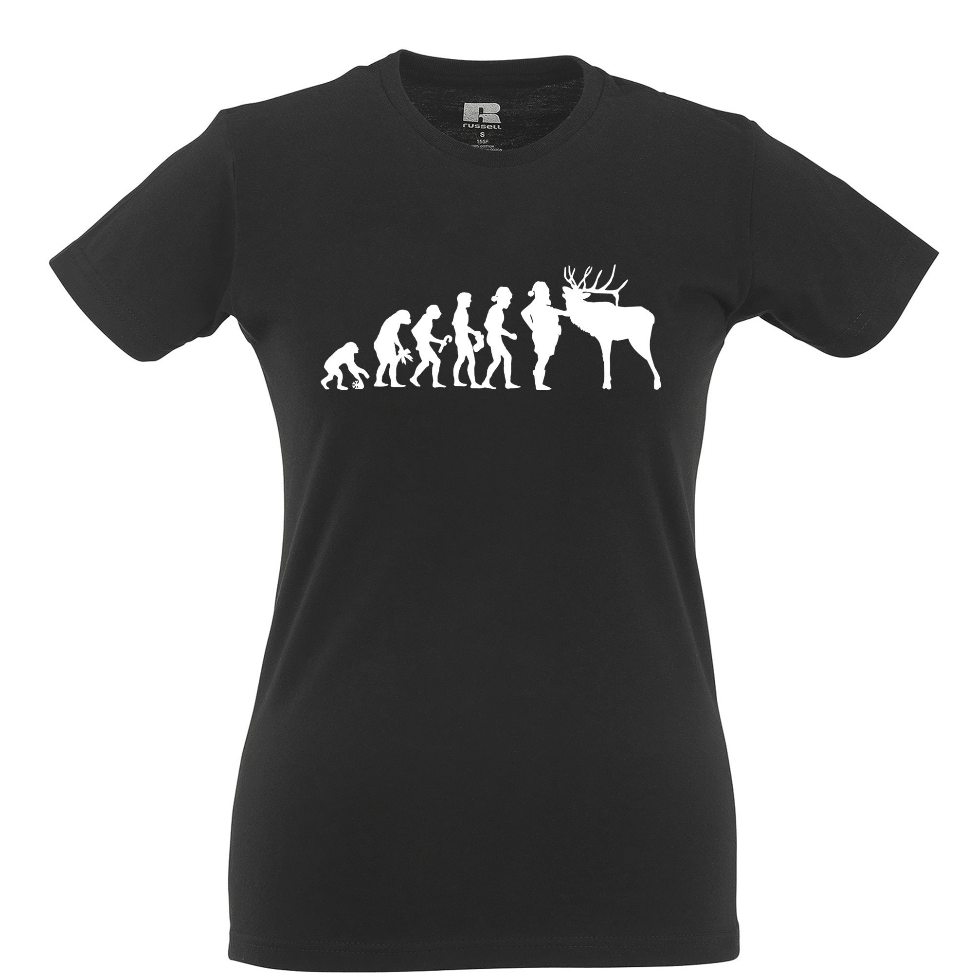 Novelty Christmas Womens TShirt Evolution Of Xmas Holiday